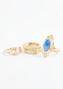 Blue Stone Filigree Ring Set - Wider Fit