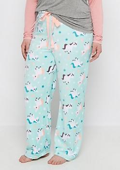 Plus Unicorn Fleece Sleep Pant