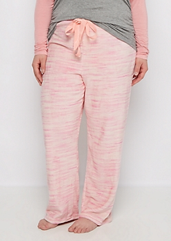 Plus Pink Space Dye Fleece Sleep Pant