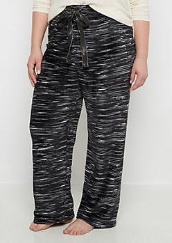 Plus Black Space Dye Fleece Sleep Pant