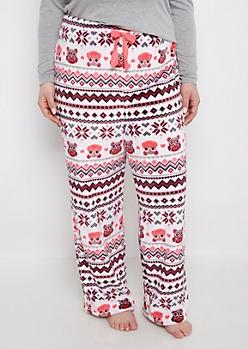 Plus Owl & Hearts Plush Sleep Pant