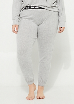 Plus Gray Hacci Knit Jogger