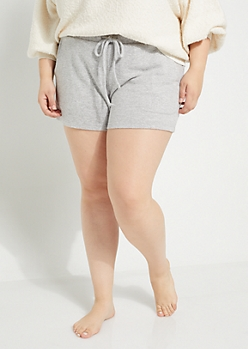 Plus Black Hacci Knit Shorts
