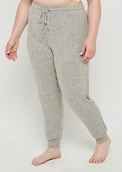 Plus Gray Soft Brushed Boyfriend Jogger