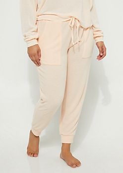 Plus Peach Hacci Knit Jogger