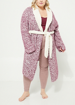Plus Purple Eyelash Knit Robe