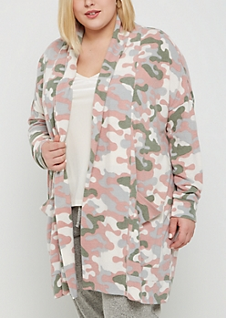 Plus Cozy Camo Cardigan Duster