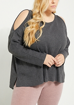 Plus Charcoal Cozy Cold Shoulder Top