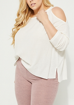 Plus Ivory Cozy Cold Shoulder Top