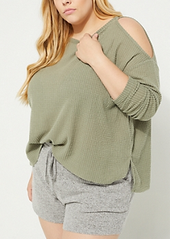 Plus Olive Cozy Cold Shoulder Top