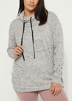 Plus Gray Funnel Neck Hacci Hoodie