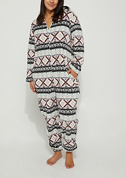 Plus Mint Aztec Plush Hooded Onesie