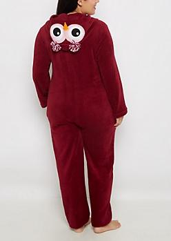 Plus Owl Plush Hoodie Onesie