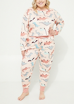 Plus Pink Dinosaur Crop Top & Joggers Sleep Set