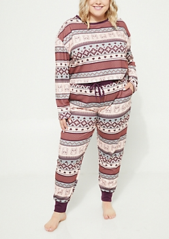 Plus Purple Owl Fair Isle Crop Top & Joggers Sleep Set