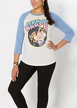 Plus Retro Star Wars Poster Baseball Tee