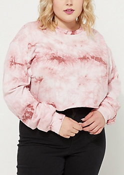 Plus Pink Crystal Tie Dye Crop Top
