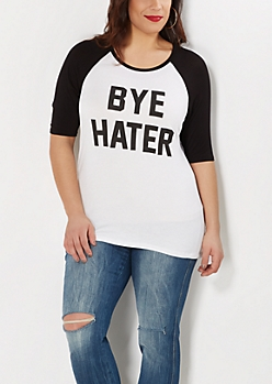 Plus Bye Hater Baseball Tee