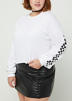 Plus White Checkered Sleeve Crop Tee