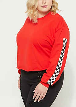 Plus Red Checkered Sleeve Crop Tee