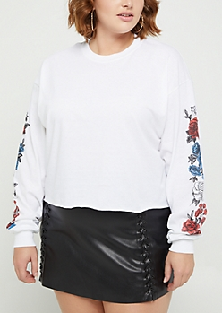 Plus Rose Sleeve Crop Sweatshirt