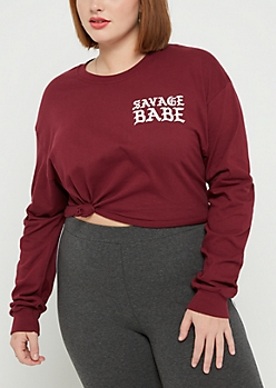 Plus Savage Babe Raw Edge Crop Top