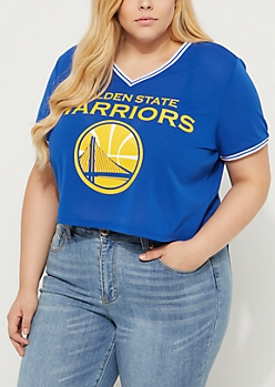 Plus Golden State Warriors Crop Mesh Jersey