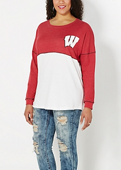 Plus University of Wisconsin Blocked Sweatshirt