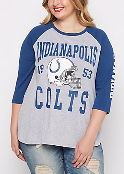 Plus Indianapolis Colts Heathered Baseball Tee