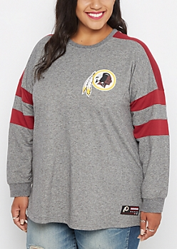 Plus Washington Redskins Athletic Striped Sweatshirt