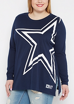 Plus Dallas Cowboys Logo Long Sleeve Tee