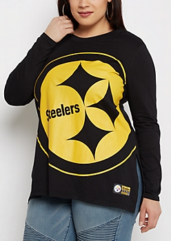 Plus Pittsburgh Steelers Logo Long Sleeve Tee