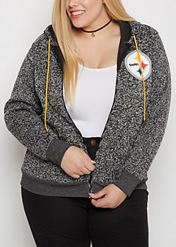 Plus Pittsburgh Steelers Zip Sweater Hoodie