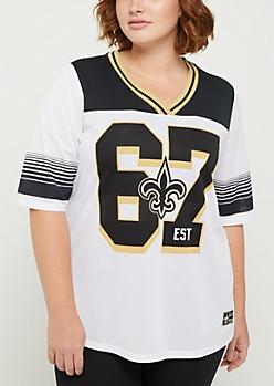 Plus New Orleans Saints Striped Football Jersey