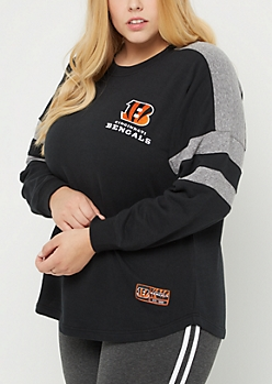 Plus Cincinnati Bengals Drop Yoke Sweatshirt