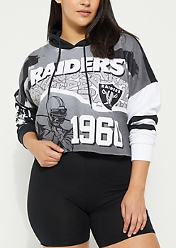 Plus Oakland Raiders Graphic Crop Hoodie