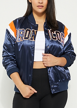 Plus Denver Broncos Athletic Stripe Bomber Jacket