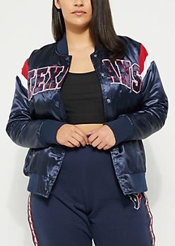 Plus Houston Texans Athletic Stripe Bomber Jacket