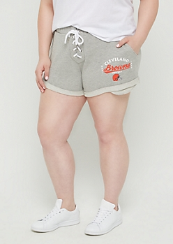 Plus Cleveland Browns Lace Up Knit Shorts