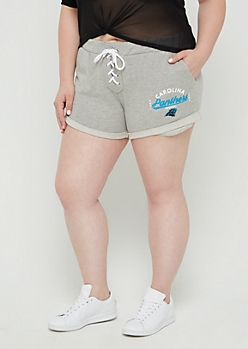 Plus Carolina Panthers Lace Up Knit Shorts