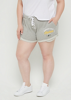 Plus Green Bay Packers Lace Up Knit Shorts