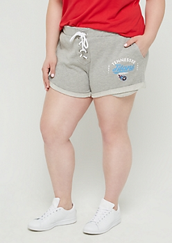 Plus Tennessee Titans Lace Up Knit Shorts