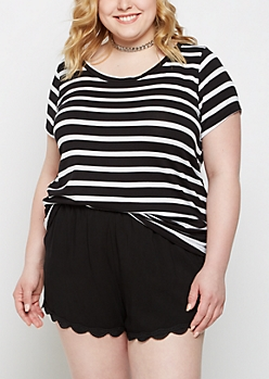 Plus Black Striped Crew Neck Favorite Tee