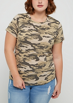 Plus Camo Crew Neck Favorite Tee