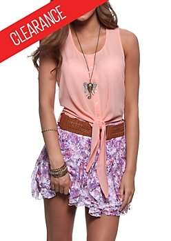 Pink Lace Floral Print Smocked Tie Sleeve Top by Rue21