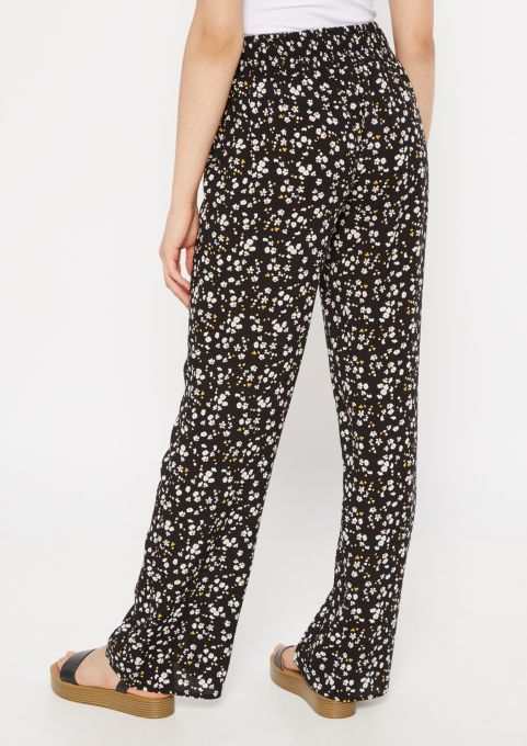 M S Women/'s Rue 21 Black /& Gray Floral Slip On Stretch Pants Sizes XS