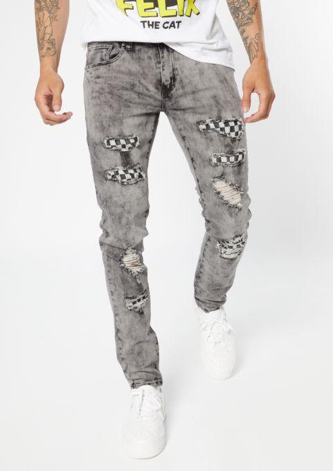 Supreme Flex Gray Acid Wash Checkered Print Skinny Jeans | Skinny