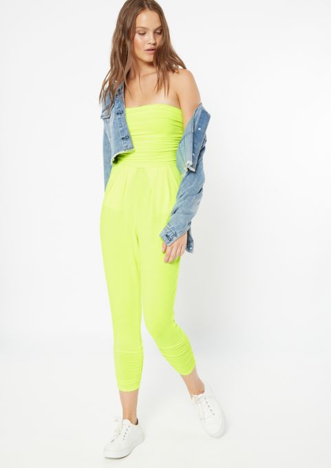 the best attitude entire collection rich and magnificent Neon Yellow Ruched Strapless Jumpsuit