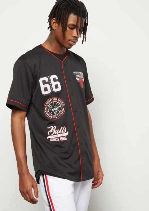 size 40 c035c 83f38 NBA Chicago Bulls Black Patch Embroidered Graphic Jersey ...