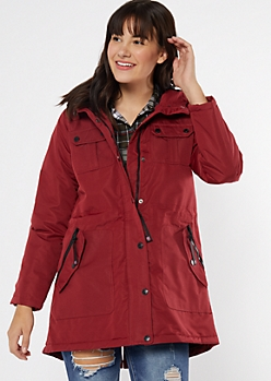 Red Long Length Utility Anorak Coat